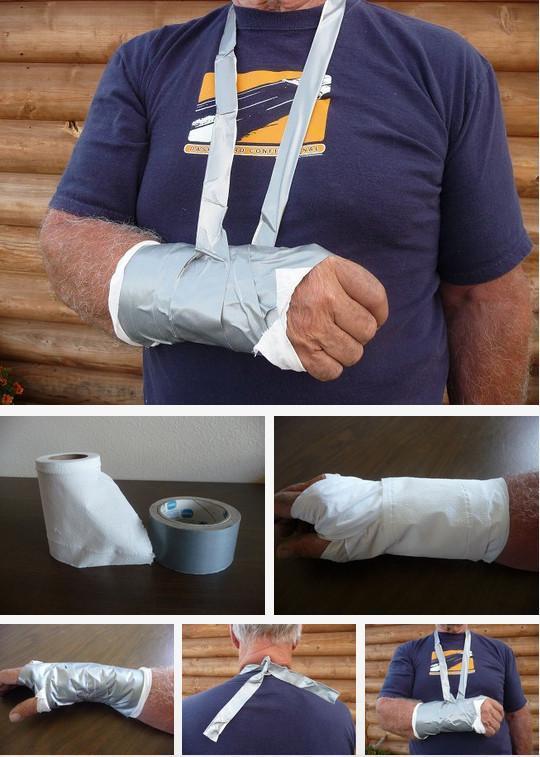 Poravnajte si zlomljene kosti z lepilnim trakom in toaletnim papirjem